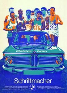 El afiche de BMW para los JJ.OO de Munich 1972 con el auto eléctrico como protagonista.