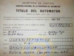 El título original del Fiat Duna ex Oltra.