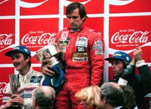 Reutemann en el podio de Zolder 1981