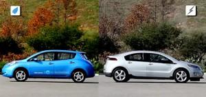 El Nissan Leaf y el Chevrolet Volt, frente a frente.