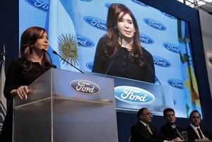 Cristina Kirchner en la presentación de la nueva planta de motores de Ford