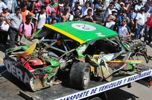 Así quedó el auto de Falaschi tras el accidente en Balcarce que le costó la vida.