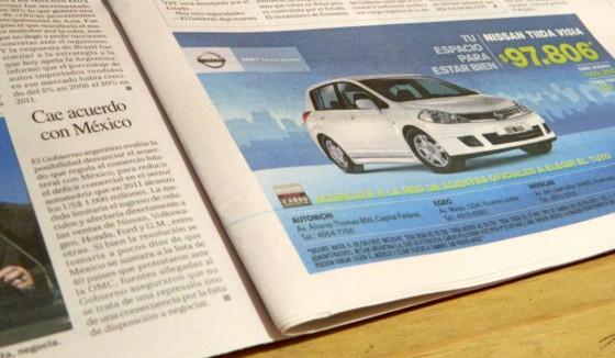 Aviso de Nissan en Perfil