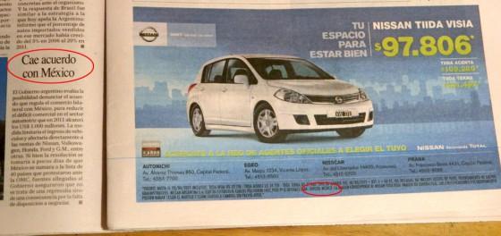 Nota de Perfil y aviso de Nissan en páginas consecutivas. Foto: Cosas de Autos