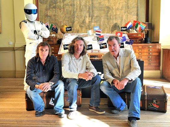Richard Hammond, James May, Jeremy Clarkson y Stig (el tester enmascarado).