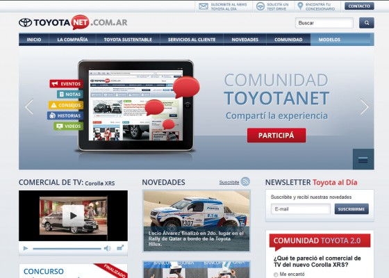 Toyota Argentina lanzó Toyota Net, un nuevo sitio web 2.0