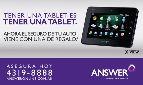 Answer regala una tablet a quienes aseguren su auto antes de fin de julio