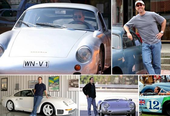 Seinfeld y algunos de los Porsche de su exclusiva colección. Fotomontaje: Cosas de Autos