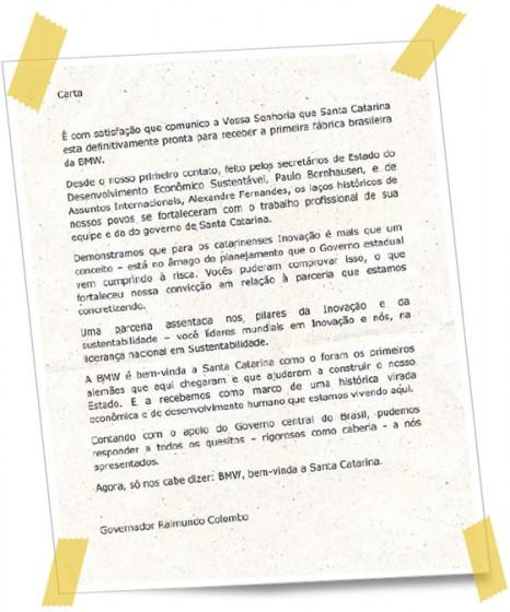 Carta que el diario A Noticia señala como enviada por el gobernador de Santa Catarina a la sede de BMW en Alemania.