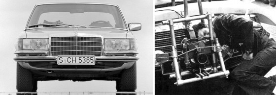Un Mercedes 450 SEL 6.9 como el que se ve a la derecha que usó Lelouch.