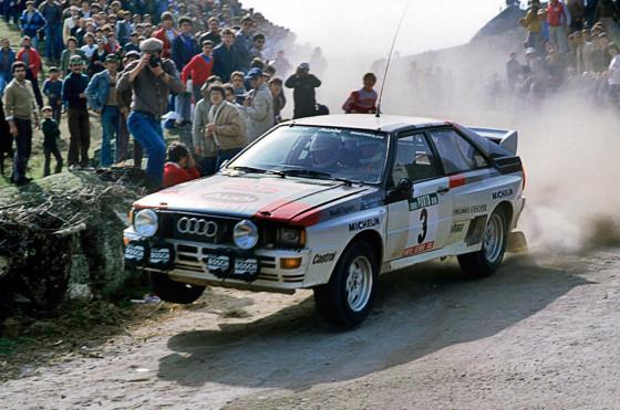 Hannu Mikkola a bordo de su Audi quattro en 1983.