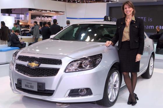 Isela Costantini en el stand de Chevrolet en el Salón del Automóvil de Buenos Aires 2013.