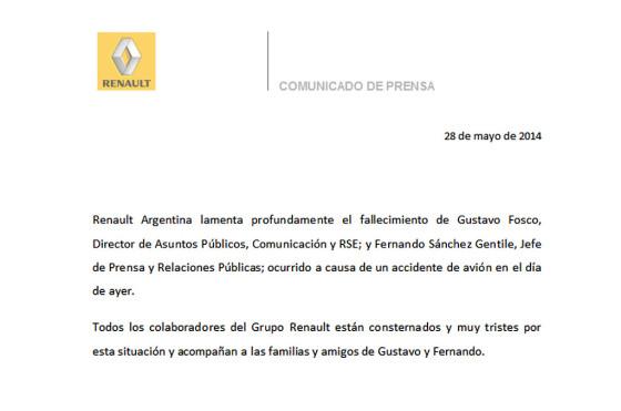 Comunicado Renault Argentina