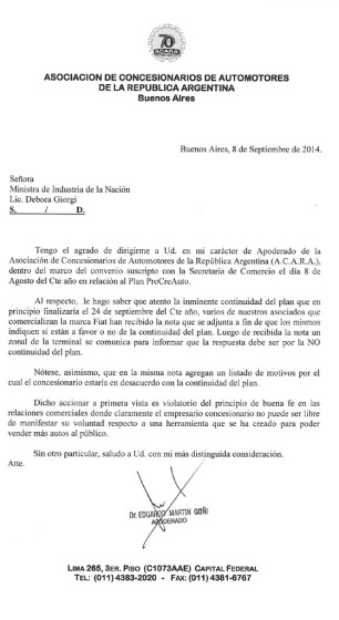 Nota ACARA ProCreAuto