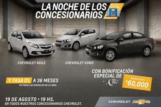 Los concesionarios Chevrolet abren de noche con bonificaciones de hasta $60 mil