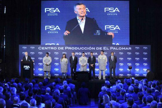Macri en la reinaguración de la Planta El Palomar de PSA