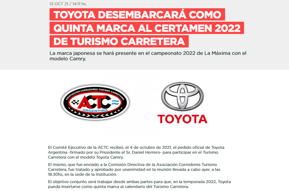 Toyota correrá en el TC